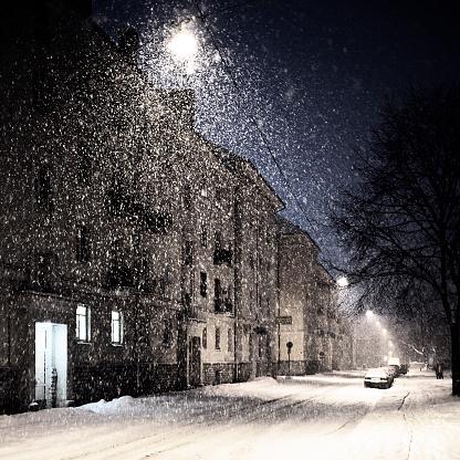 City Street「heavy snowfall in town」:スマホ壁紙(9)