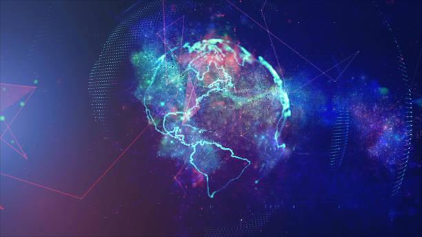Global communication concept. Technological abstract background:スマホ壁紙(壁紙.com)