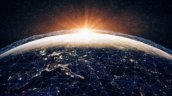Information Medium「Global Communication Network (World Map Credits To NASA)」:スマホ壁紙(6)