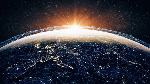 Global Communication Network (World Map Credits To NASA):スマホ壁紙(壁紙.com)