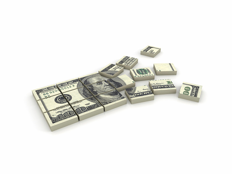 American One Hundred Dollar Bill「Illustration of a stack of $100 bills broken in squares」:スマホ壁紙(18)
