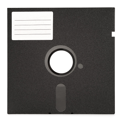 1980-1989「Illustration of old floppy disk with white label」:スマホ壁紙(5)