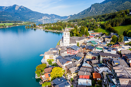 Salzkammergut「St. Wolfgang and the small town St. Wolfgang im Salzkammergut, Upper Austria, Austria, Europe」:スマホ壁紙(9)