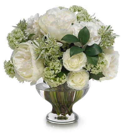 Bouquet「ホワイトの牡丹とカメリアブーケ白背景」:スマホ壁紙(16)
