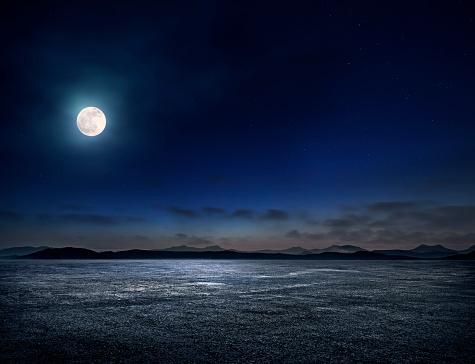 Moon「Night Empty parking lot」:スマホ壁紙(15)
