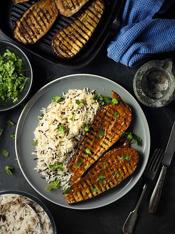 Griddle「Healthy Grilled aubergine steak with rice」:スマホ壁紙(11)