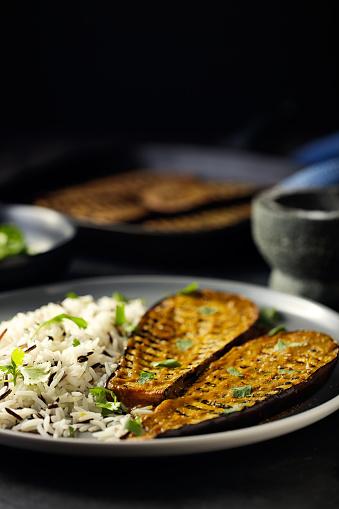 Griddle「Healthy Grilled aubergine steak with rice」:スマホ壁紙(5)
