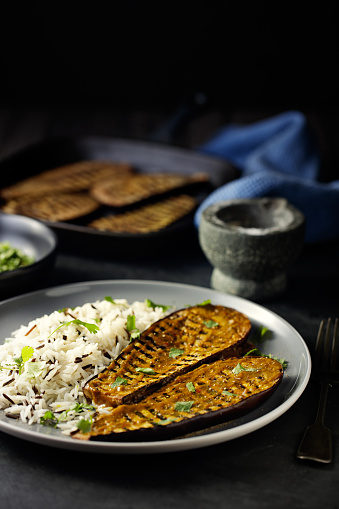 Griddle「Healthy Grilled aubergine steak with rice」:スマホ壁紙(4)