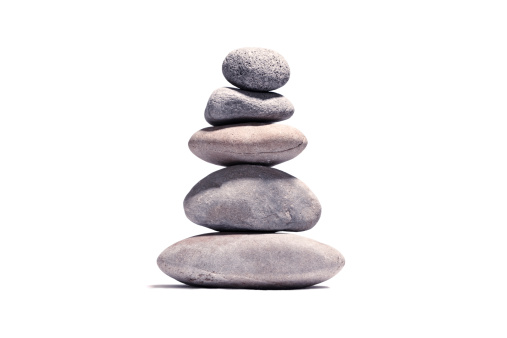 Chan Buddhism「Stack of volcanic pebbles isotaded on white with clipping path」:スマホ壁紙(2)