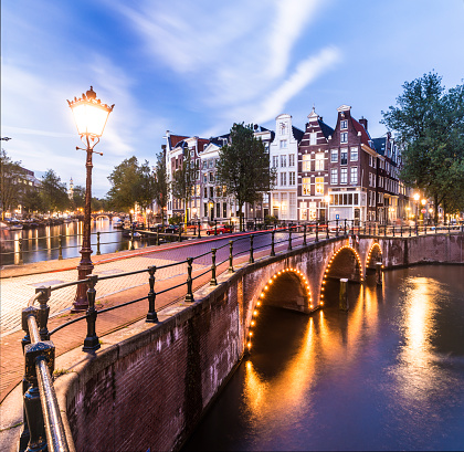 Amsterdam「Bridges and Canals of Amsterdam Illuminated at Sunset Holland」:スマホ壁紙(18)