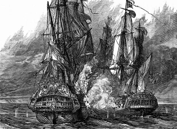 Battle between two ships in War of Jenkins' Ear:スマホ壁紙(壁紙.com)