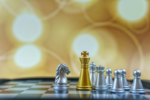 Battle「Gold Chess King, Silver Knight and Pawn stock photo. Board Game, Chess, Chess Board, Chess Piece, King - Chess Piece. Business and leadership concept.」:スマホ壁紙(15)