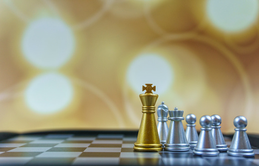 Battle「Gold Chess king and pawn stock photo. Board Game, Chess, Chess Board, Chess Piece, King - Chess Piece. Business and leadership concept.」:スマホ壁紙(14)