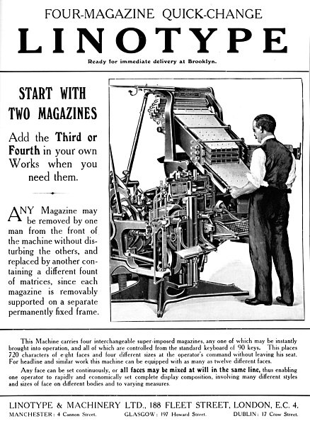 20th Century「Linotype & Machinery Ltd Advert, 1919」:写真・画像(15)[壁紙.com]