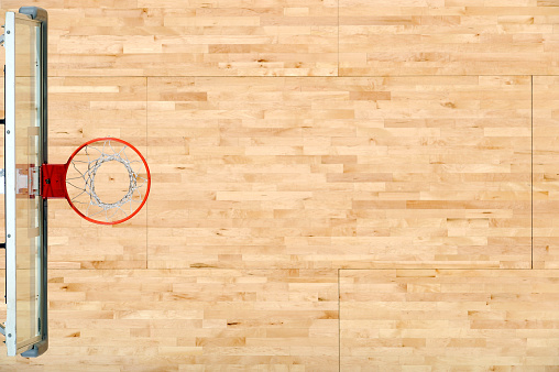 Hardwood「An aerial view of a basket rim and the floor」:スマホ壁紙(7)