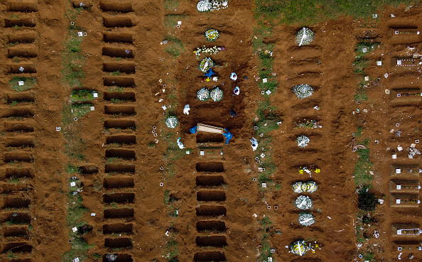 Cemetery「Aerial View of Vila Formosa Cemetery During a Burial of a Coronavirus (COVID -19) Pandemic Victim」:写真・画像(4)[壁紙.com]