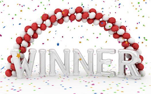 Congratulating「Winner sign in silver and balloons」:スマホ壁紙(16)