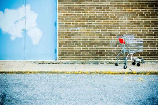 Deterioration「Abandoned Shopping Cart  on Sidewalk Outside Store」:スマホ壁紙(5)