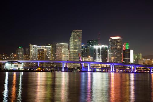 Miami Beach「マイアミフロリダの夜の街並み」:スマホ壁紙(14)
