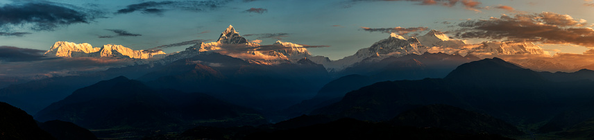Annapurna Range「Nepal, Annapurna, Pokhara, Annapurna South, Machapuchare, panoramic view」:スマホ壁紙(18)