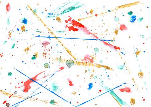 アート「カラフルなウォーターカラーのストローク、ドットとラック」:スマホ壁紙(3)