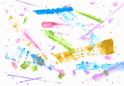 アート「カラフルなウォーターカラーのストローク、ドットとラック」:スマホ壁紙(12)