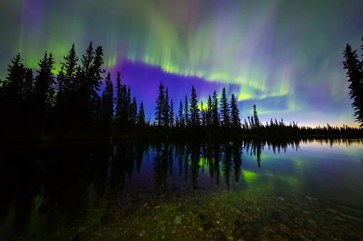 星空「The aurora borealis reflects in the Clearwater River in Delta Junction shortly before sunrise」:スマホ壁紙(18)