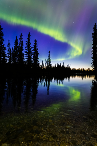 星空「The aurora borealis reflects in the Clearwater River in Delta Junction shortly before sunrise」:スマホ壁紙(19)