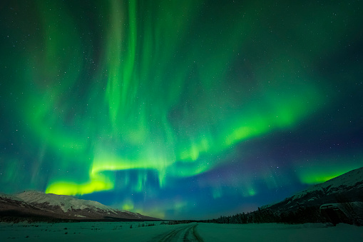 星空「The aurora borealis glows over the frozen Richardson Highway on a bitterly cold night near Black Rapids in the Alaska Range」:スマホ壁紙(0)