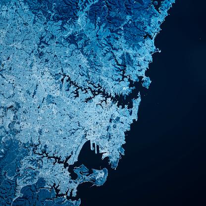 Digital Composite「Sydney Australia 3D Render Map Blue Top View Jul 2019」:スマホ壁紙(2)