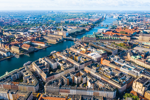 Denmark「Copenhagen, Denmark. New Harbour canal and entertainment famous street. Aerial shoot view from the top」:スマホ壁紙(19)