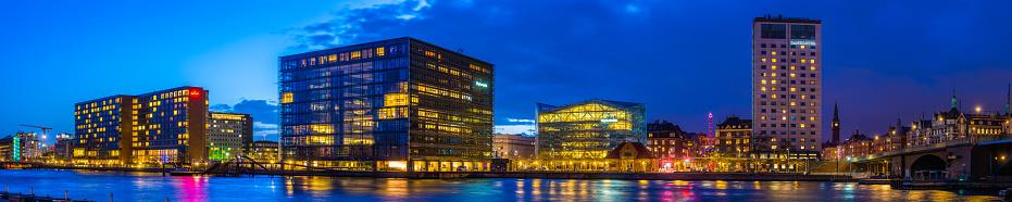 Danish Culture「Copenhagen modern developments harbour waterfront panorama illuminated at dusk Denmark」:スマホ壁紙(2)