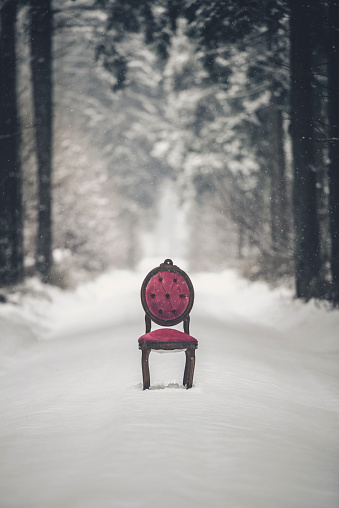 Footpath「msystic scene with red chair in a winter forest」:スマホ壁紙(12)