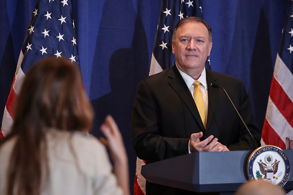 Conference Phone「Secretary of State Mike Pompeo Addresses The Media In New York」:写真・画像(17)[壁紙.com]