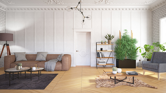 Vibrant Color「Classical Living Room with Furniture and Wall Panels」:スマホ壁紙(15)
