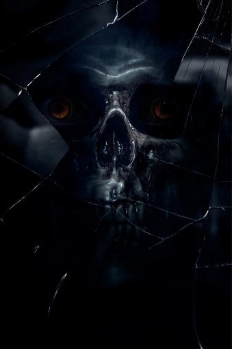ガラス「Skull」:スマホ壁紙(12)