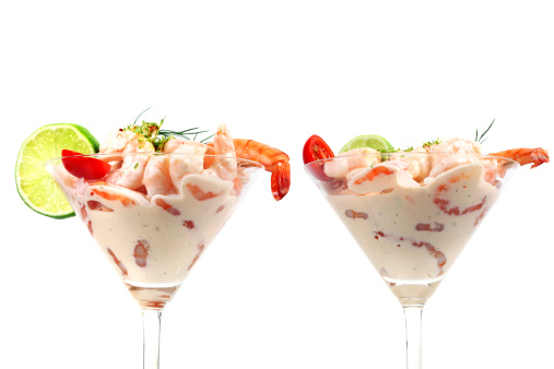 Saturated Color「Two Shrimp Cocktails Isolated on White」:スマホ壁紙(0)