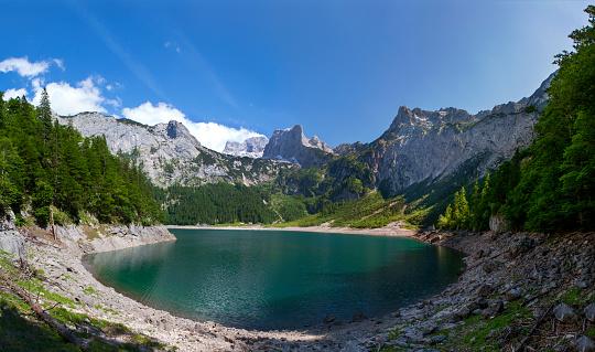 Dachstein Mountains「Austria, Upper Austria, Salzkammergut, Gosau, Hinterer Gosausee, Holzmeisteralm, Dachstein massif」:スマホ壁紙(10)
