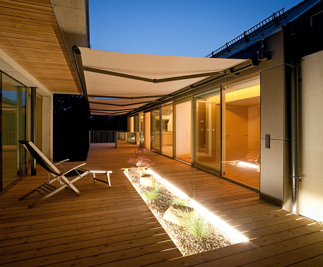 Deck Chair「One family house, wooden terrace with awnings in the evening」:スマホ壁紙(9)