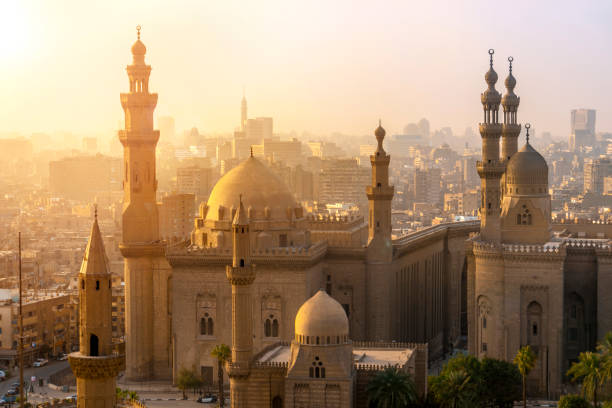 From above view of the Mosques of Sultan Hassan and Al-Rifai.:スマホ壁紙(壁紙.com)
