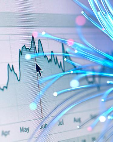 Cryptocurrency「Financial charts and fibre optics symbolizing innovative stock market developments」:スマホ壁紙(12)