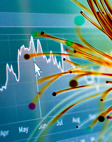 Cryptocurrency「Financial charts and fibre optics symbolizing innovative stock market developments」:スマホ壁紙(16)