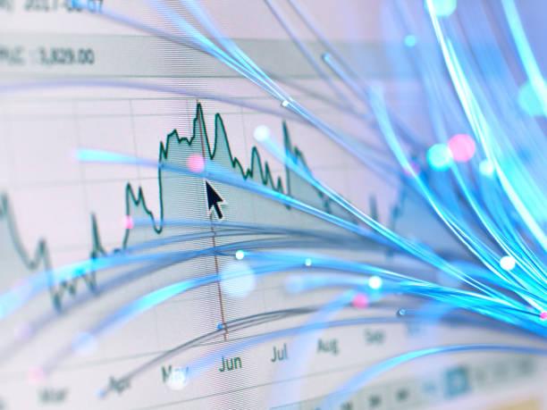 Financial charts and fibre optics symbolizing innovative stock market developments:スマホ壁紙(壁紙.com)