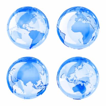 地球「青色光沢のあるグローブ(4 ポジション」:スマホ壁紙(19)