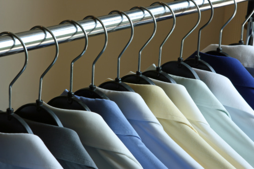 Laundry「Dry Cleaned Shirts on Hangers on a Rack」:スマホ壁紙(7)