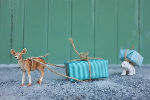 Polar Bear「Toy deer transporting Christmas present」:スマホ壁紙(12)