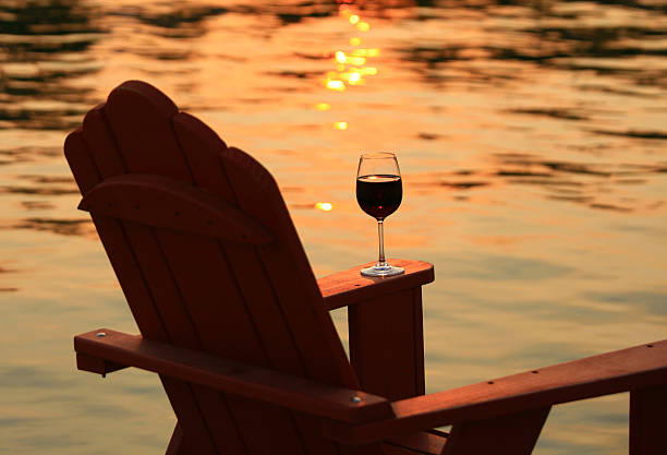 Adirondack Chair and Wine at Sunset By Lake:スマホ壁紙(壁紙.com)