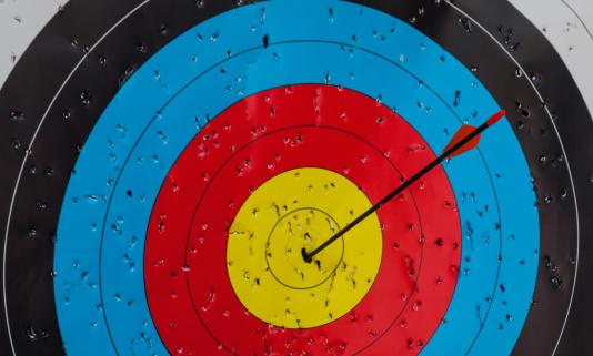 Sports Target「An arrow in the bullseye of a paper target」:スマホ壁紙(17)