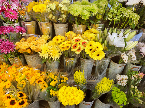 Flower Shop「Flower market display of a variety of multi colored blooming flowers in individual containers.」:スマホ壁紙(15)