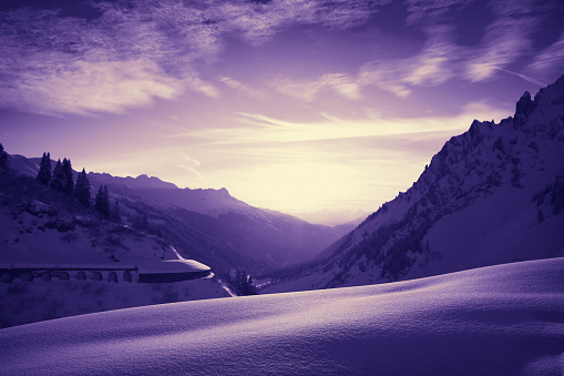 "St Anton am Arlberg「Beautiful colorful sunset, St. Anton am Arlberg ski area, Austria. ST. Anton am Arlberg ski area (ST. Anton, Lech, Zurs, Stuben, St. Christoph), located in Tyrol, Austria on Alps. Highest peak is Valluga 2810m. Ski resort is famous for ""of slope"" skiing.」:スマホ壁紙(9)"